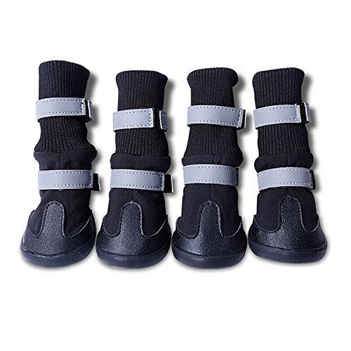 UEETEK 4pcs mascotas impermeable botas de suela antideslizante de perro mediano a grande (talla M, negro)