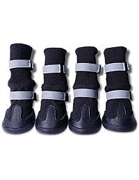 PIXNOR 4 Piezas Impermeable Botas Botines Zapatos de Perro - Talla M (Negro)