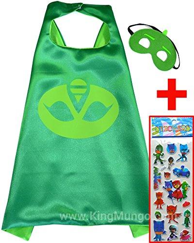 PJ Masks GEKKO Cape und Maske + Aufkleber! Umhänge Superhelden-Kostüme für Kinder - Verkleiden & Kostüme Spielzeug Jungen und Mädchen Motto-Partys! - King Mungo - (Pj Kostüme)