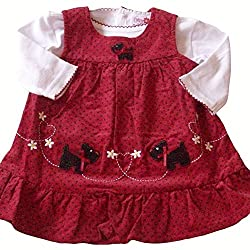 12-18 months - Baby Girls Cute Red and Black Dogs Spotted Corduroy Dress Outfit by Cutey Couture