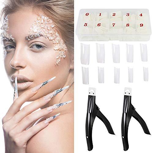 EMAGEREN 500 Stück Falsche Nägel Französische Nail Sticker Acryl Nägel 10 Verschiedene Größen Natürliche Künstliche Fingernägel False Nail Tips mit 2 Stück Nagelschneider Metall Tipcutter mit Box