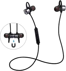 Auricolari Bluetooth, ER-ESTAVEL Cuffie magnetiche per lo sport con mic, Wirless Auricolare Bluetooth 4.1, Cuffie Bluetooth IPX5 Sweatproof Compatibili iPhone Android(Black)