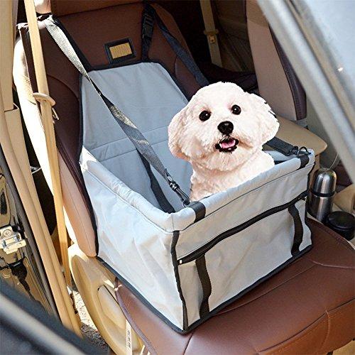 Haustier Hund Autositzbezug, AOGETYO Auto Sitzerhöhung Wasserdichte Autositz Autositzabdeckung Schutz Decke Matte mit Sicherheits Gurt Leine für Kleine Welpen Katze Hund (Grau)