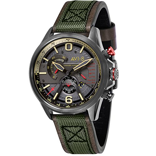 AVI-8 Hawker Harrier II Men's Watch – Chrono Day Date – Leather – av-4056-03