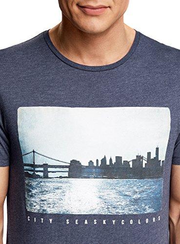 oodji Ultra Herren Gerades T-Shirt mit Urban-Druck Blau (7829P)