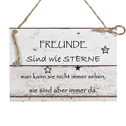 Wand Deko Holzschild mit Spruch im Shabby Chic Vintage Stil (20x29x0,5cm) Freunde sind wie Sterne - die Geschenkidee für ihren Freund zum Valentinstag