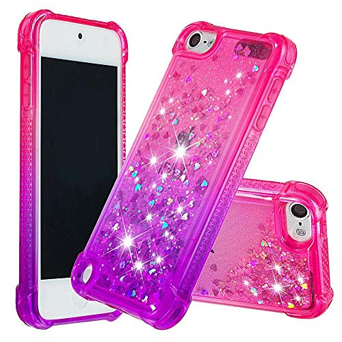 dudubaobei iPod Touch 6./5. Fall für Frauen Mädchen Kinder Glitter Sparkle Bling Flüssigkeit Wasserfall Durable Cute Case-Pink/lila - Lila 5 Ipod-touch-fall