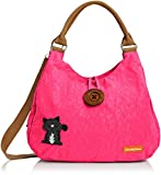 SwankySwansCamden Cat Button - Sacchetto donna , rosa (Pink (Fuschia)), Taglia unica