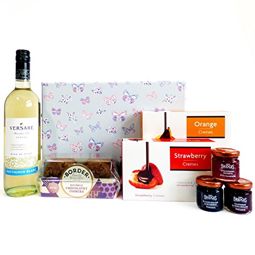 Birthday gift for her Delightful Butterfly Presentation Gift Box with Versare White Wine & Nibbles - Perfect present for women