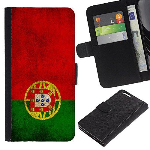 """Graphic4You Vintage Uralt Flagge Von Italien Design Brieftasche Leder Hülle Case Schutzhülle für Apple iPhone 6 Plus / 6S Plus (5.5"""") Portugal Portugiesisch"""
