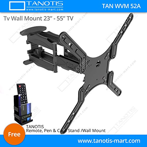 "Tanotis Imported 6 Way Dual Arm Swivel Tilt TV Wall mount for LCD/LED TV's upto 32"" to 55"" inch for flat wall or Corner Mounting with VESA upto 400 MM TAN WVM 52A + Free TANOTIS Remote Stand TAN ACC RMS"