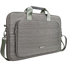 Custodia Laptop, Evecase Messenger Borsa Custodia in Nylon con manici per laptop, Notebook, Portatile da 17 - 17.3 Pollici- Grigio