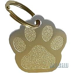 MACHU - Médaille forme empreinte patte chien couleur OR personnalisable - 2,8 cm X 2,6 cm - convient à chien MOYEN - GRAVURE profonde et soignée offerte.