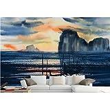 Zyzdsd Anpassen Tapete Für Wände 3D Stereoskopischen Abstraktes Alpines Meer Ölgemälde Boot Malerei Wand 3D Wallpaper Wandbilder-200X140CM