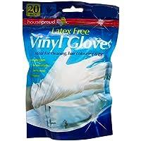 20 guantes de vinilo de tamaño mediano o grande, sin látex.
