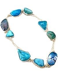 cfce9a408df0 Los artesanos indie Natural BOTSWANA ÁGATA druzy largo collar de piedras  preciosas 925 mujeres plateadas plata