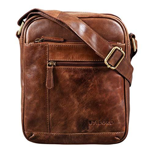 STILORD \'Diego\' Vintage Herrentasche Leder Klein Umhängetasche für 9.7 Zoll iPad DIN A5 Schultertasche Cross-Body Bag für Männer Echtes Leder, Farbe:antik - braun