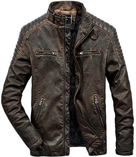 NMBMN Herren Herbst Winter Vintage Gesteppte Dicke Warm Mantel Parka Stehkragen Militär PU Lederjacke Men Leather Jacket Windbreaker (Brown,Large) -