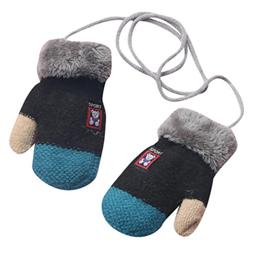 Boys Gloves, SHOBDW Kids Girls Fashion Cute Bear Thicken Wool Winter Warm Hot With Rope Gloves Infant Baby Gifts
