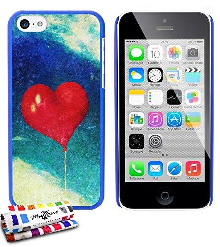 Ultraflache weiche Schutzhülle APPLE IPHONE 5C [Herzen ballon vintage] [Grun] von MUZZANO + STIFT und MICROFASERTUCH MUZZANO® GRATIS - Das ULTIMATIVE, ELEGANTE UND LANGLEBIGE Schutz-Case für Ihr APPLE Blau