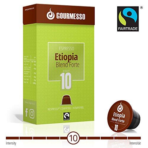 Gourmesso Etiopia Blend Forte (intensité 10) - 50 Capsules de Café compatibles Nespresso® - Café équitable