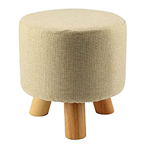 MultiWare Upholstered Footstool Ottoman Round Pouffe Wooden Legs Round Beige 3 Legs