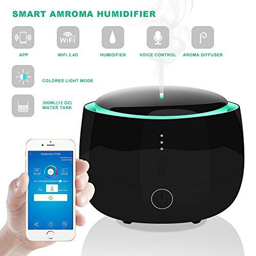 Smart-WI-FI Aromatherapie ätherisches Öl Diffusor, 300ml Aroma kühle Nebel Timer Luftbefeuchter mit 7 farbigen Licht-Wechseln, Alexa und APP Steuerung Auto-Off