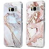 Kasos S8 Marmor H�lle, Marble Handyh�lle : Silikon Case Weich TPU Huelle mit IMD Technologie f�r Samsung Galaxy S8, Jade + Rose wei� Bild