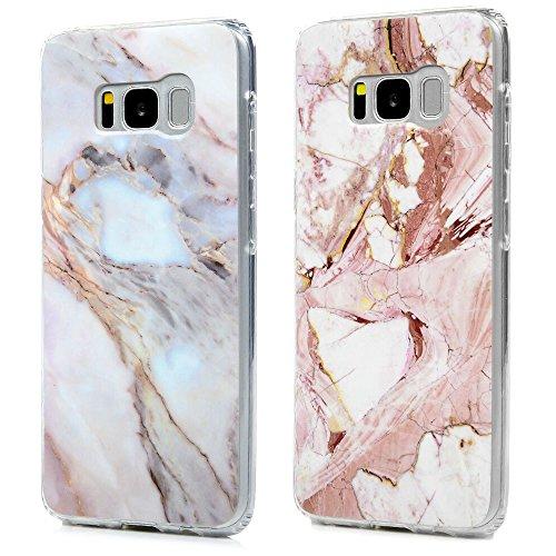 Kasos S8 Marmor Hülle, Marble Handyhülle : Silikon Case Weich TPU Huelle mit IMD Technologie für Samsung Galaxy S8, Jade + Rose weiß
