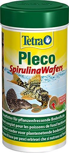 Tetra Pleco Spirulina Wafers, mangime 100% vegetale per pesci da fondo - 250ml