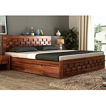d4bbdad52f King Size Pure Teak Wood Bed: Amazon.in: Home & Kitchen