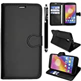 Lenovo P2 Case, Premium Leather Flip Wallet Book [Stand View] Card Case Cover For Lenovo P2 By Kamal Star® + Free Stylus (Plain Black Book)