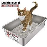 Yangbaga Katzentoilette, Edelstahl, groß, kein Geruch, Antihaftbeschichtung, kein Bücken, leicht zu reinigen (Größe)