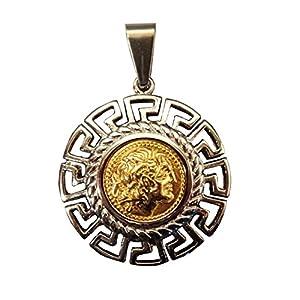 Schöne Anhänger Schmuck Griechisch Alexander der Große poliert Stahl Gold und Silber Ton