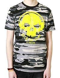 Redrum T-Shirt Oberteil Top kurzaermelig kurze Aermel 100% Baumwolle Camo Grau Gelb