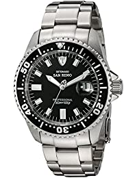 DETOMASO San Remo Men's Automatic Watch with Black Dial Analogue Display and Silver Stainless Steel Bracelet Dt1025-A
