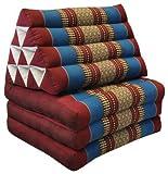 Kapok Thaikissen, Yogakissen, Massagekissen, Kopfkissen, Tantrakissen, Sitzkissen - rot/blau (Dreieck mit 3 Auflagen 52x50x45 (81203))