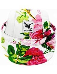 YUMSUM Gorra de béisbol para perros Sombrero de deporte Sun Sport Gorra de visera de tela Oxford con orificios para perros pequeños (Flower, S)