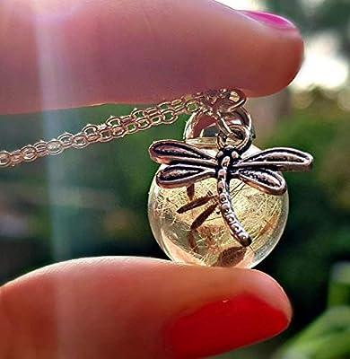 Libellule Collier de pissenlit Chaîne en ARGENT STERLING Boite cadeau - Bijoux libellule Pendentif papillon bijoux d'été cadeau d'amitié