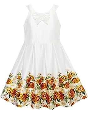 Mädchen Kleid Gelb Rose Drucken Gefaltet Saum Hochzeit Festzug Hochzeit Gr. 116-158