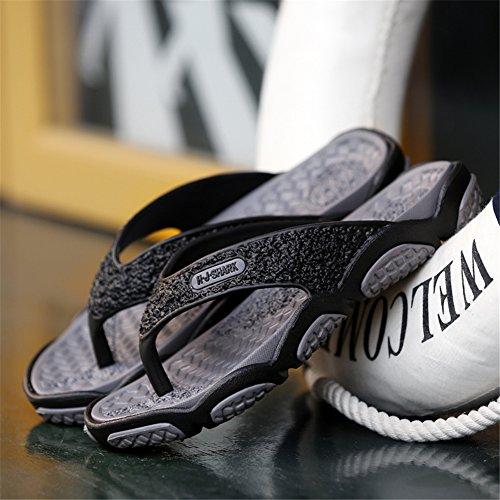Sommer Strand Flip Flops Hausschuhe Zehentrenner Outdoor Indoor Pantoletten Herren Schuhe Ultralight Rutschfest Slipper Badeschuhe Grau