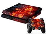 Skins4u Playstation 4 PS4 Skin Design Folie Aufkleber Vinyl Sticker Set + 2 PS4 Controller Skins - Rose of Fire