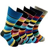 Bunte Herrensocken > Größe 40 bis 45 / Happy Business Socks Herren / Streifen Socken Bunt für Männer (40-45, Mega Value Pack - 5 paar)