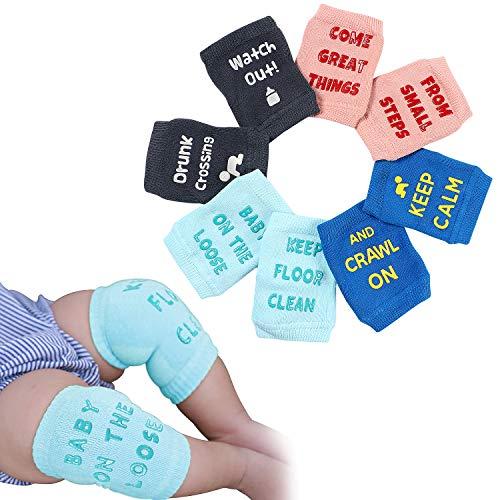 Tacobear 4 Paar Baby Knieschoner Krabbelschoner Krabbelhilfe anti-Rutsch Elastische Kniebandage Knieschützer für Kinder Baby