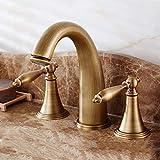 Durevole Rubinetto del bacino di rame di qualità superiore Europeo pastorale americano antico Retro Split doppio rubinetto a tre fori pressurizzato acqua calda e fredda rubinetto pratico
