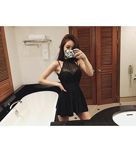 Das Mädchen Badeanzug weiblichen Flachstahl ring kleine Brust zusammen, der Badeort - style Siam rock Badeanzug, XL, schwarz (Siam-ring)