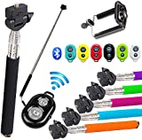Fusion(TM) Extendable Self Portrait Selfie Handheld Stick Monopod with Smartphone Adjustable Phone Holder and Bluetooth Remote Wireless Shutter for iPhone Samsung and other IOS and Android Smartphone ALL COLOURS