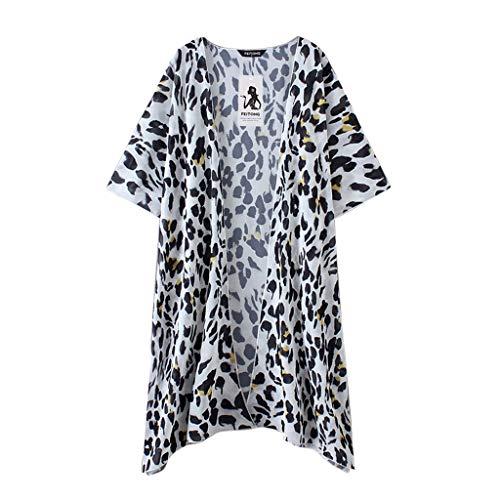 Frauen Casual Sommer Frauen Leopardenmuster Chiffon Kimono Lange Strickjacke Bluse Schal Lose Tops Outwear (Lustige Schals Für Frauen)
