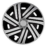 14 Zoll Bicolor Radzierblenden CYRKON (Silber/Schwarz). Radkappen passend für fast alle OPEL wie z.B. Corsa C