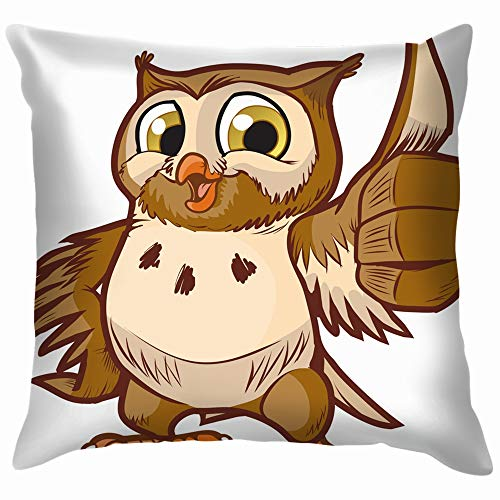 beautiful& Cartoon Clip Art Cute Animals Wildlife Owl Throw Pillows Covers Accent Home Sofa Cushion Cover Pillowcase Gift Decorative 18X18 Inch